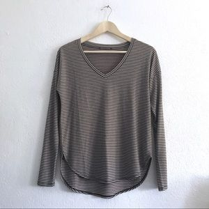 Brown tan black stripe v-neck long sleeve top